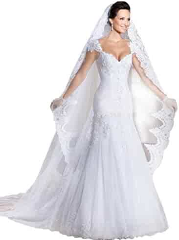 4a95a7e2cf8cf Ikerenwedding Women's Lace Trailing Mermaid Wedding Dress with Veil and  Gloves