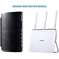TP-Link DOCSIS 3.0 (8x4) High Speed Cable Modem (TC-7610) and TP-Link AC1900 Wireless Long Range Wi-Fi Gigabit Router (Archer C9) Bundle Kit - Comcast, TWC, Cox Cable, Brighthouse Compartible