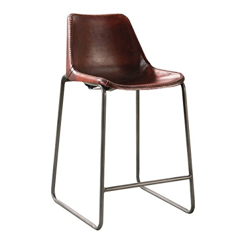 Antonelli Counter Height Chairs with Natural Goat Leather Antique Brown and Gunmetal (Set of 2)