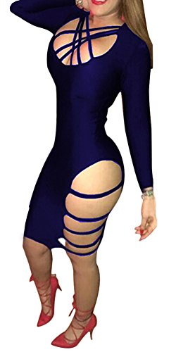 Womens Sexy Bandage Side Lace Up Bodycon Party Night Club Dress Royal Blue Large