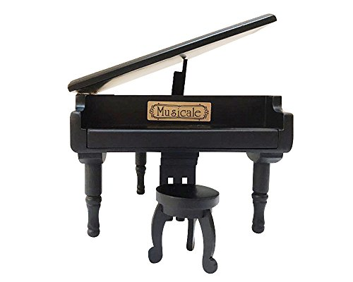 Wooden Piano Music Box Style 18 Tones Grand Gifts for Birthday Classical Nice Music Box Black
