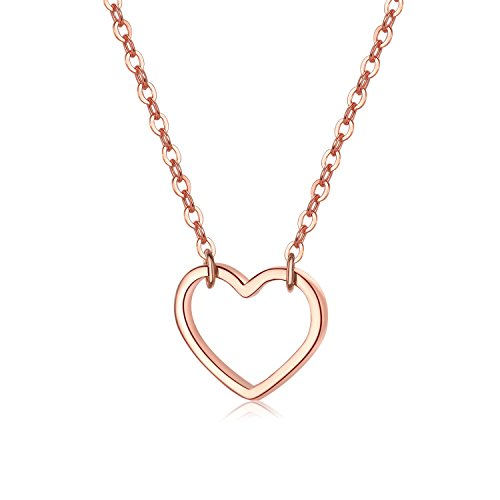 EVERU Open Heart Necklace 925 Sterling Silver Love Pendant for Women Girl (Rose Gold)