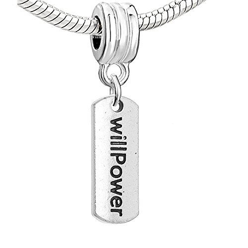 (SEXY SPARKLES Will Power Dangle Charm Bead for Snake Chain Charm Bracelets)