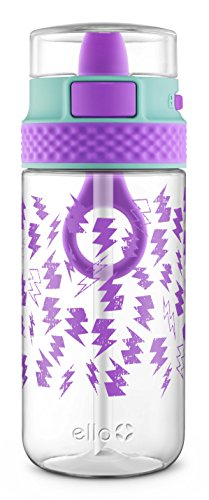 Ello Stratus Tritan Plastic Water Bottle, Mint/Purple, 16 oz