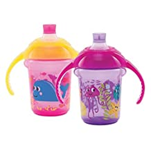 Munchkin Click Lock 7oz Bite Proof Decorated Sippy cup, Trainer Cup 2pk Colors may vary