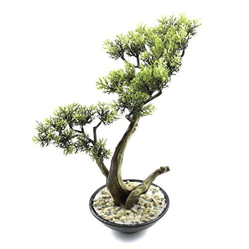 (Tuokor Artificial Bonsai Tree 10.5 Inch Tall Small Docorative Cypress Faux Plants in Ceramic Pot)