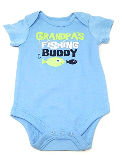 Wmt Infant Bodysuits, Cute Sayings, Assorted Sizes, Colors and Sayings, Great Baby Shower Gifts (0-3M, Blue/Fishing)