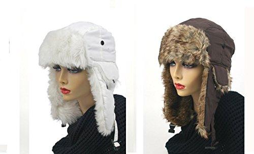 Pop Fashionwear Women's Trapper Winter Ear Flap Hat P136 (2 Pcs White & Brown)