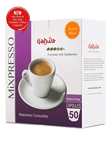 Mixpresso Coffee Espresso Capsules Compatible With Nespresso Original Brewers Single Cup Coffee Pods   From Italy Qahwa   Espresso with Cardamom, 50 count