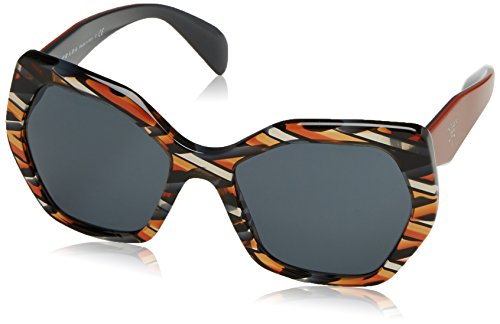 Prada Women's 0PR 16RS Sheaves Grey/Orange/Grey - Prada Case Sunglasses