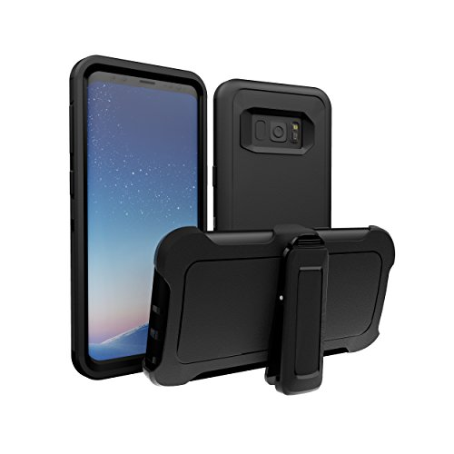 Galaxy S8 Case, ToughBox [Armor Series] [Shockproof] [Black] for Samsung Galaxy S8 Case [with Holster & Belt Clip] [Fits OtterBox Defender Series Belt Clip]