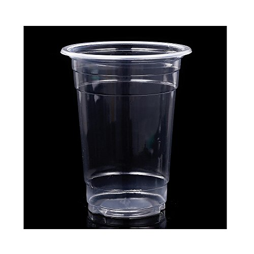 Vanki Plastic Ultra Clear Cups With Flat Lids and straw for Iced Coffee Bubble Boba Tea Smoothie 18 OZ 100Sets
