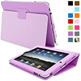 Snugg iPad 2 Case - Smart Cover with Flip Stand & Lifetime Guarantee (Purple Leather) for Apple iPad 2