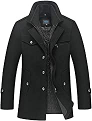 Mordenmiss Men's Wool Trench Coat with Removable Windproof Inner Co