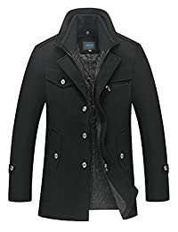 Mordenmiss Men's Wool Trench Coat with Removable Windproof Inner Collar