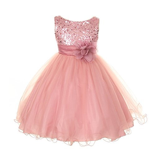 (Kids Dream Big Girls Rose Sequin Bodice Floral Overlaid Flower Girl Dress 14)