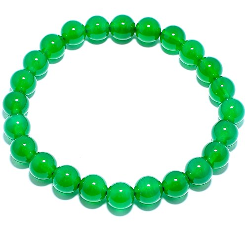 Natural Genuine Green Agate Jade Gem Bead, maxin 8MM Selastic Stretch Stone Loose Beaded Bracelet,Unisex (Genuine 8 Agate Mm)