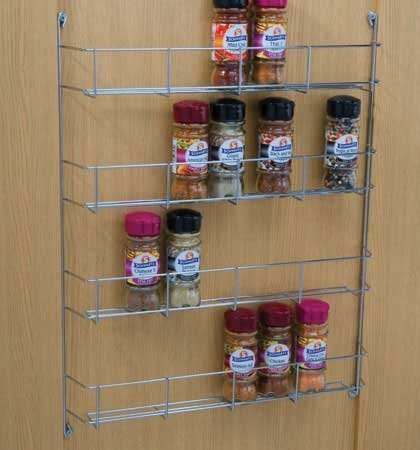 Chrome 4 Tier Spice Herb Jar Rack Holder For Home Kitchen Door Cupboard Storage or Wall Mountable LIVIVO