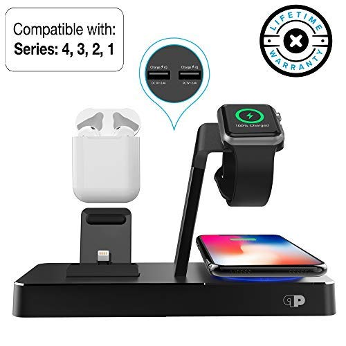 - ONEDock PowerBase (MFi Certified) Aluminum Dock, Stand w/Built-in 7.5A Qi Certified Fast Wireless Charging Pad & Original Connector for iPhone, Made for Apple Watch Series 1,2,3,4 and iX/XS/XR/Max/8