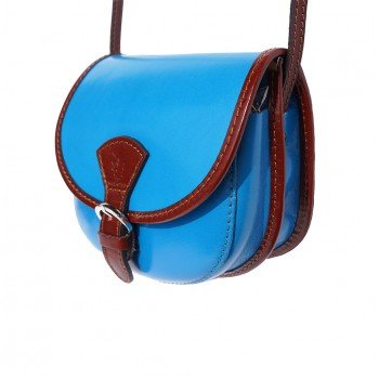 Blue brown Leather Handbag Mini Italian Round Crossbody LaGaksta Shoulder Light x8afOqZxwW