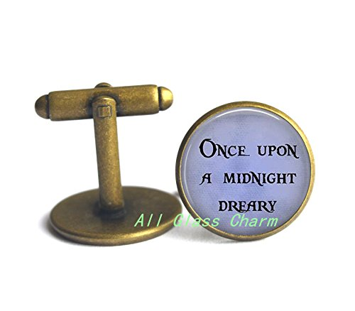 Once Upon a Midnight Dreary Cufflinks Cuff links or Cuff links or Cufflinks - Halloween Jewelry - Quoth the Raven Nevermore,AS0272