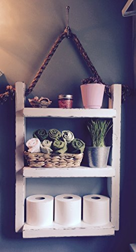Genial Rope Hanging Shelf, Wooden Ladder Shelf, Storage Shelf, Bathroom Storage,  Rustic Shelf