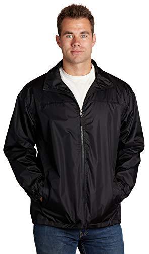 Equipment De Sport USA Men's Lined Wind Resistant/Water Repellent Full Zip Black Windbreaker Jacket (4XL, Black)