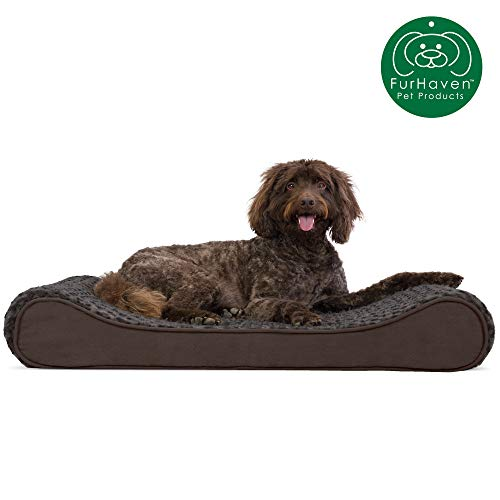 Furhaven Pet Dog Bed | Orthopedic Ultra Plush Faux Fur Ergonomic Luxe Lounger Cradle Mattress Contour Pet Bed w/ Removable Cover for Dogs & Cats, Chocolate, Large