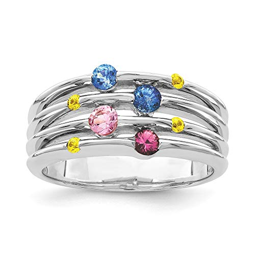 925 Sterling Silver Multi Sapphire Band Ring Size 8.00 Gemstone Fine Jewelry Gifts For Women For Her
