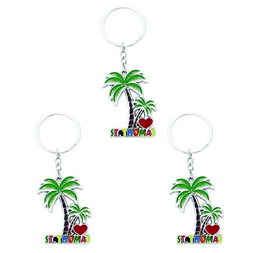 (Key Chain St. Thomas Set of 3 Souvenir Enamel Metal Key Chains U S Virgin Islands)