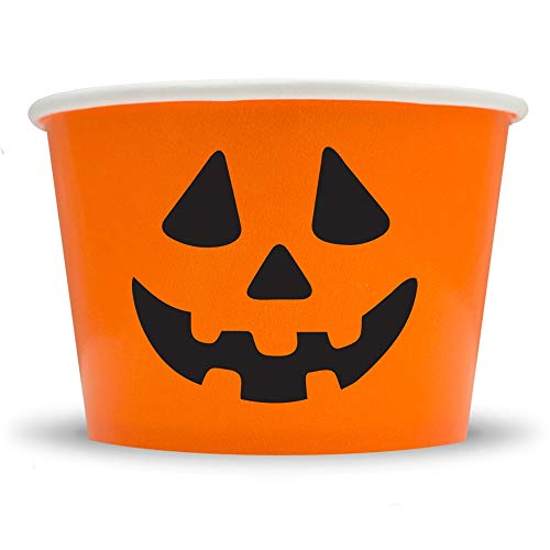 Halloween Jack-o-Lantern Ice Cream Cups - 12 oz Dessert Bowls Perfect For Spooky Halloween Parties! Check Out Our Other Halloween Cups & Spoons Too! Fast Shipping! Frozen Dessert Supplies - -