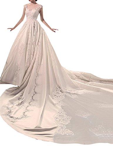 Youyougu Women's V-Neck Appliques Cathedral Train Backless Wedding Dress Cap Sleeve Satin A-line Bridal Gown White Size 20 ()