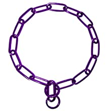 Platinum Pets Coated Fur Saver Chain Training Collar, 25-Inch by 4mm, Purple