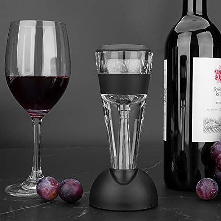 mafiti Wine Aireador de Vino Tinto con Base para Vino Tinto, Negro