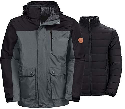 Wantdo Men's Thick 3-in-1 Ski Jacket Hooded Mountain Warm Parka Outwear Grey M (Best 3 In 1 Jacket Reviews)