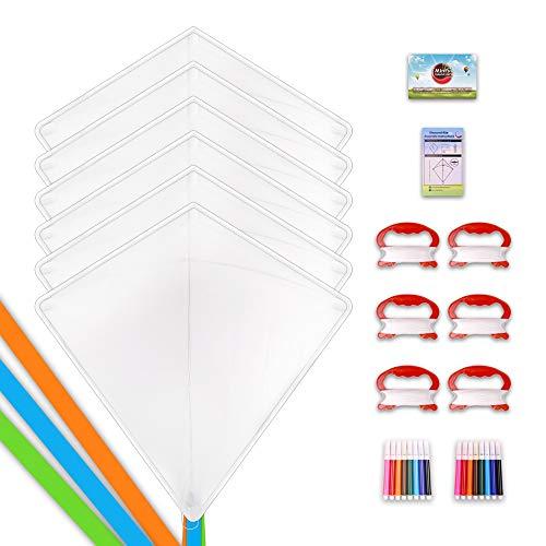 Mint's Colorful Life DIY Kites for Kids Kite Making Kit Bulk, Decorating Coloring Kite Party Pack,White Diamond Kite Kits (6 Pack)