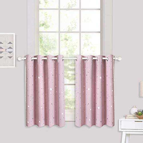 (RYB HOME Decor Star Printed Curtains, Short Drapes Valance for Thermal Insulating Energy Saving Room Darkening, Small Window Panels for Holiday Party, Pink, Wide 52 x Long 36 inch, 2 Pcs)