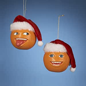 Annoying Orange With Santa Hat Blow Mold Ornament Set Of 2