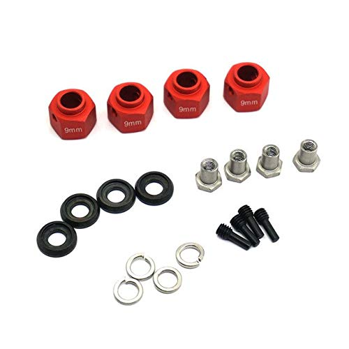 1Set Metal 9MM Thick Hexagon Adapter Wheels Hubs Mount with Stainless Steel Screw Needle for TRAXXAS TRX4   Red
