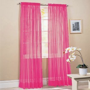 "MONAGIFTS HOT PINK COLOR Voile Window Panel Solid sheer valance curtains 95"" long"