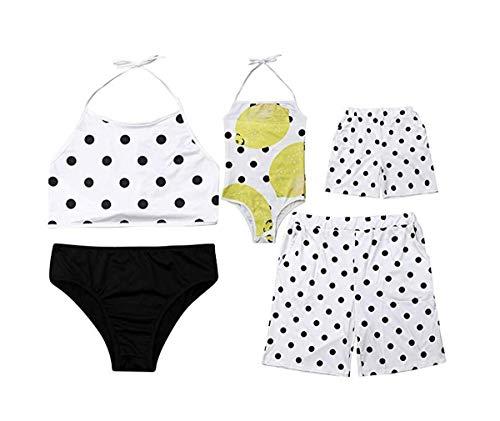 Family Matching Clothing Daddy&Boy Swimsuit Mommy&Girl Polka Dot Lemon Fruit Bathing Trunk Beachwear Bikini ()