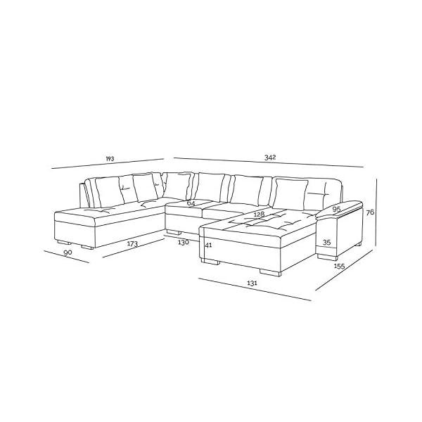 ATIS – Canapé d'angle panoramique XXL en U – en Tissu – Angle Gauche (Gris)
