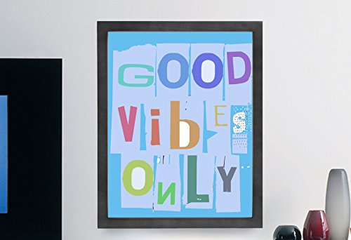Good Vibes Only Inspiring Quote Wall Art Print, Typographic, Typography Poster, Illustration, Modern Home D?cor Blue on Print