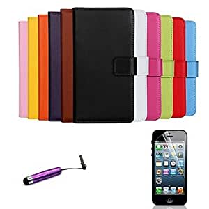 SOL Solid Color Pattern Genuine Leather Full Body Cover with Card Stylus and Protective Slot for iPhone 6 Plus , White
