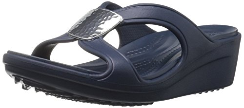 Crocs Kvinnor Sanrah Förskönat Kil Sandal Marinblå