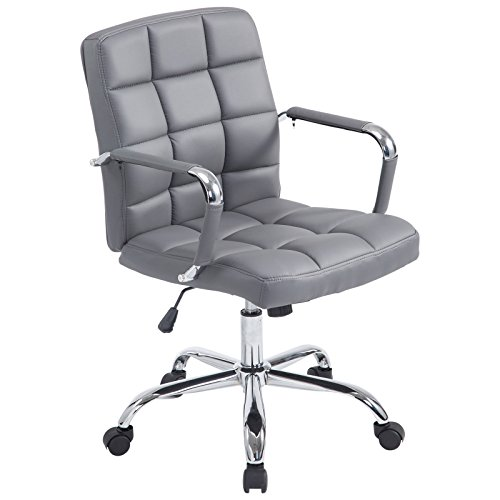 Poly and Bark Manchester Office Chair in Vegan Leather, Grey