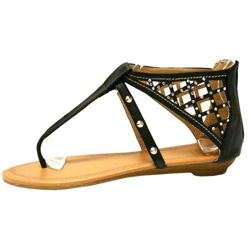 Black Silver & Rhinestone Studded Womens Flat Sandals 1rIFt5dX