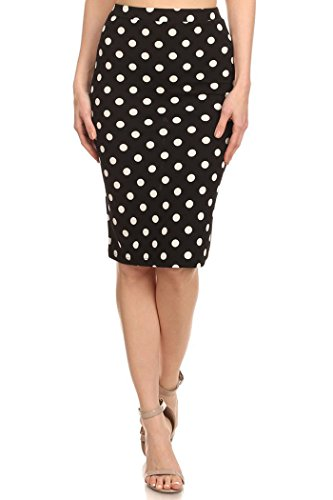 Private Label Women's Casual and Formal Polk-Dot Print High Wiasted Pencil Skirt Made in USA (S, Black-White)