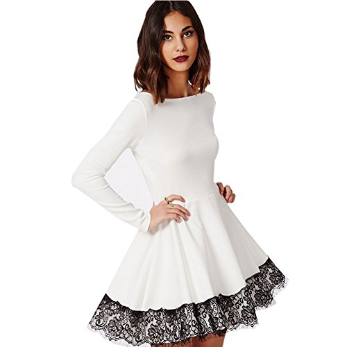 Blooming Jelly Women's Long Sleeve Cute White Lace Prom Cocktail Dress