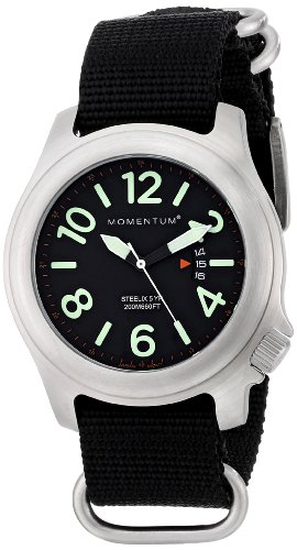 Men's Sports Watch |Steelix Nylon Adventure Watch by Momentum | Stainless Steel Watches for Men | Analog Watch with Japanese Movement | Water Resistant(200M/660FT) Classic Watch - Black/1M-SP74B7B